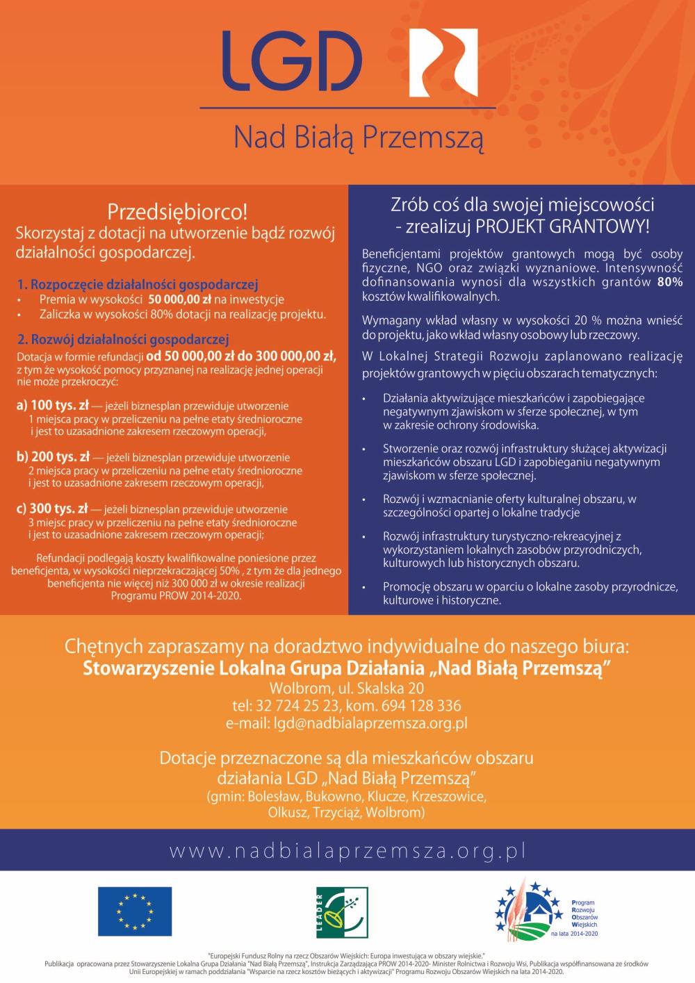 Informacja dla zainteresowanych  dofinansowaniem za pośrednictwem LGD