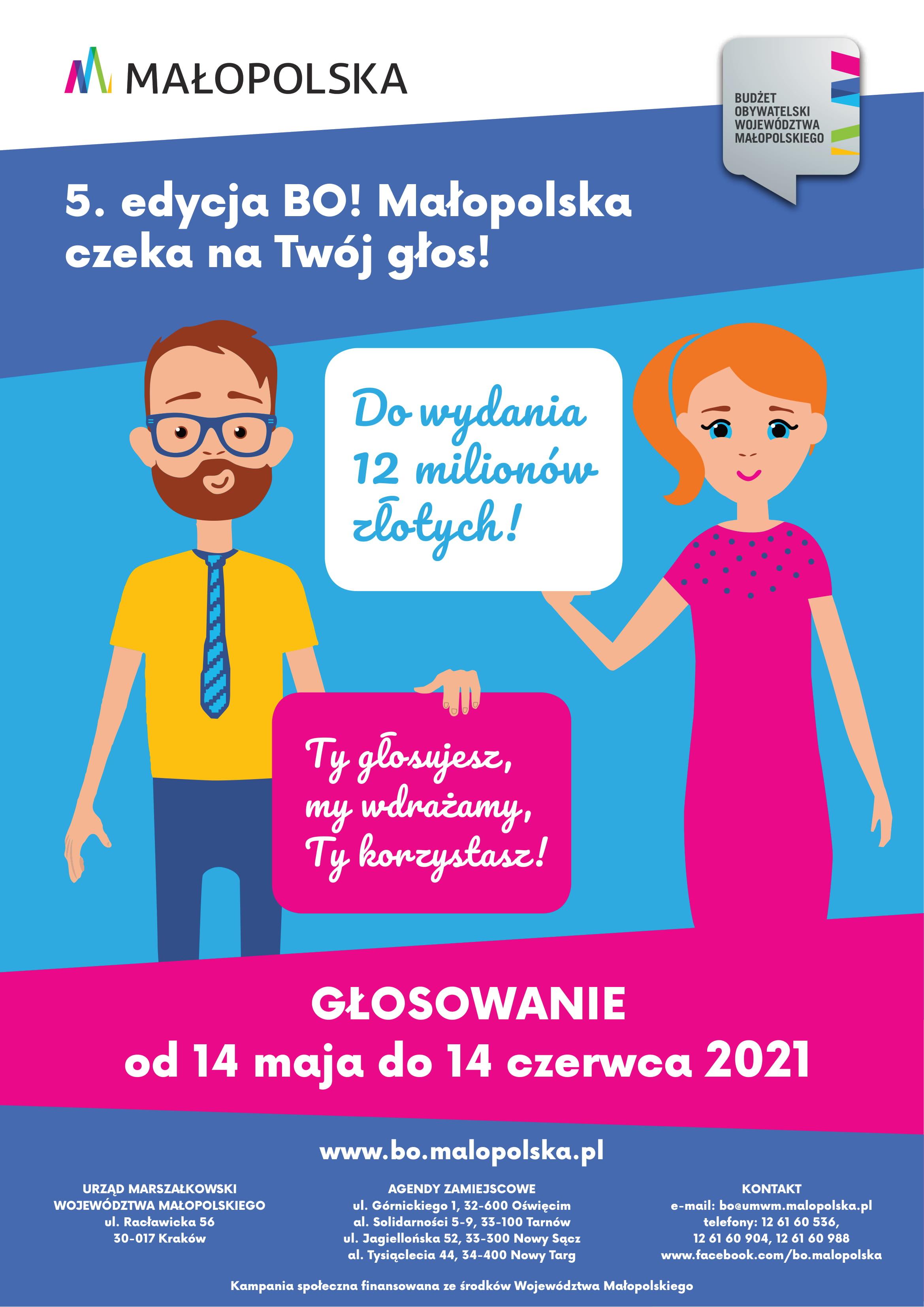 Zapraszamy do udziału w 5. edycji Budżetu Obywatelskiego Województwa Małopolskiego